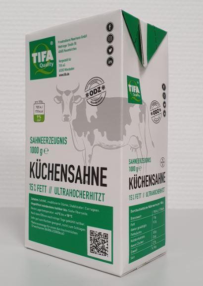 TIFA Quality Küchensahne 15 % Fett 1000 g